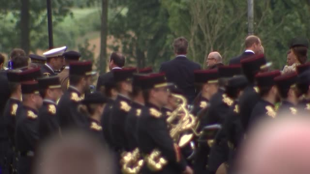 Somme Centenary Commemorative event in Thiepval Wide shot of David Cameron MP and Francois Hollande meeting Prince William and Kate military band in...