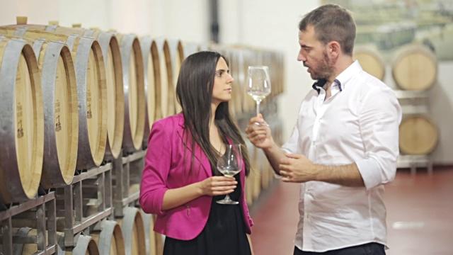 Sommelier explaining wine tasting