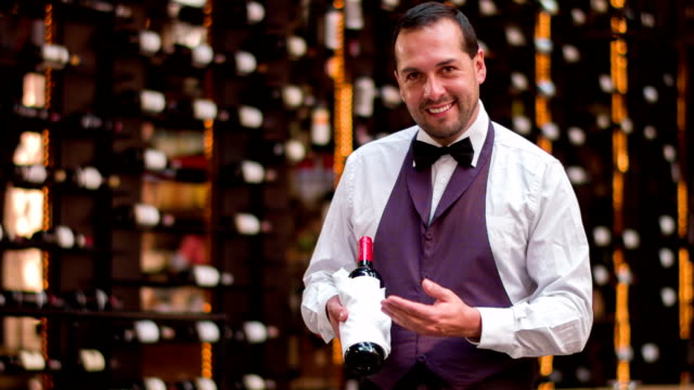 sommelier holding a bottle of wine - wine cellar stock videos and b-roll footage