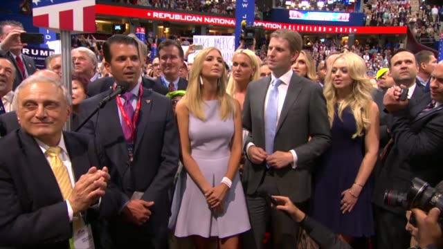 son donald trump junior nominates donald trump for president at the 2016 republican national convention suggesting an incredible honor and watching... - republican national convention stock videos & royalty-free footage