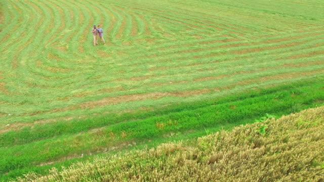 削除されたフィールドでリモートコントロールでドローンを飛ばすために父農民を示す息子 - 農学者点の映像素材/bロール