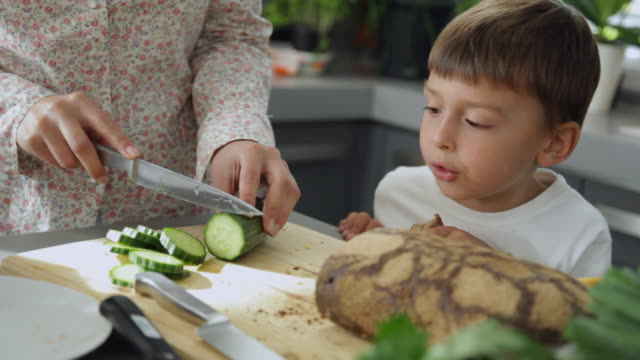 MS Son (4-5) watching mother cutting cucumber / Kleinmachnow, Brandenburg, Germany
