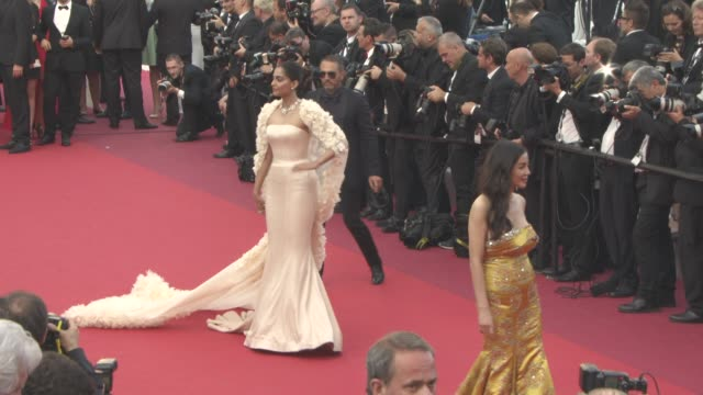 sonam kapoor at 'loving' red carpet at grand theatre lumiere on may 16 2016 in cannes france - grand theatre lumiere stock videos & royalty-free footage