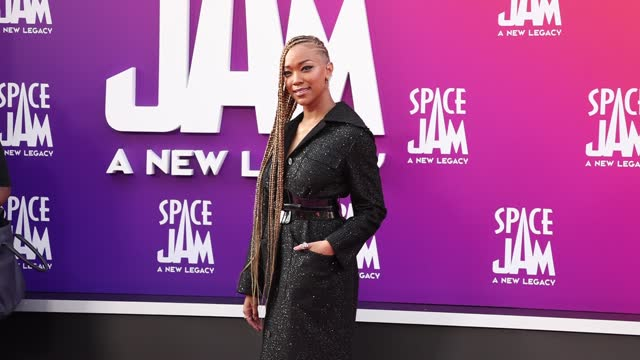 """sonequa martin-green attends the premiere of warner bros """"space jam: a new legacy"""" at regal live on july 12, 2021 in los angeles, california. - space jam stock videos & royalty-free footage"""