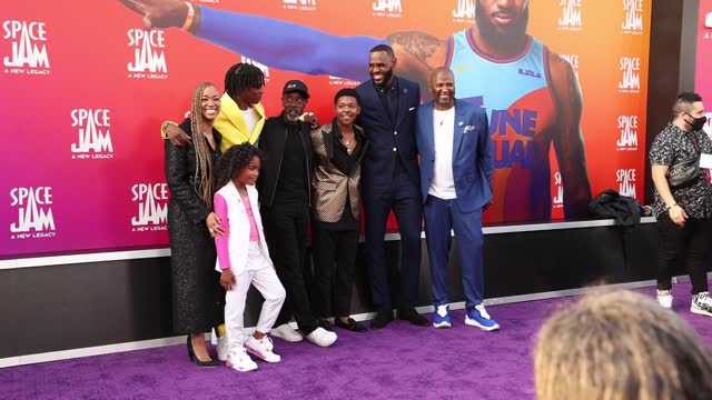 sonequa martin-green, harper leigh alexander, ceyair wright, don cheadle, cedric joe, lebron james, and malcolm d. lee attends the premiere of warner... - space jam stock videos & royalty-free footage