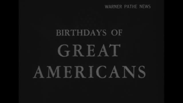 [VO song America the Beautiful throughout] title Birthdays of Great Americans superimposed over dark shot of the Great Seal of the United States /...