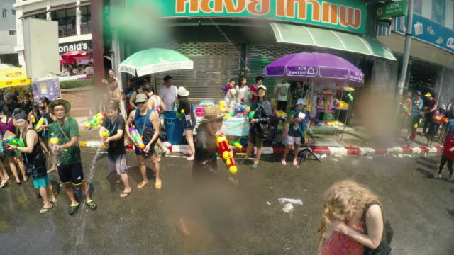 songkran festival  or thai new year, chiang mai thailand. - chiang mai province stock videos & royalty-free footage