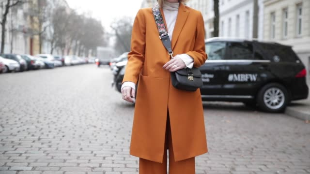 Sonia Lyson wearing a Lala Berlin suit black Valentino bag Kurt Geiger shoes ring lilian von trapp on January 18 2017 in Berlin Germany
