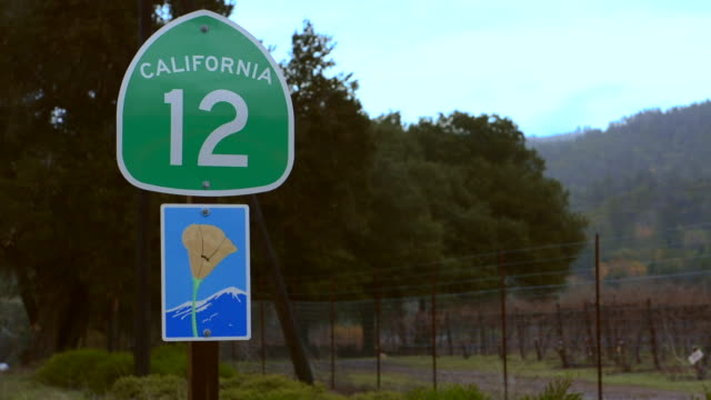 Sonoma Valley California road sign Route 12 wine route Napa Valley near Kenwood CA