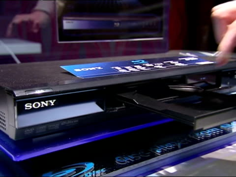 sony bluray disc player being demonstrated - dvd player stock videos & royalty-free footage