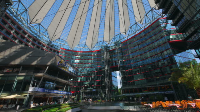 sony center at potsdamer platz, berlin-mitte, germany - establishing shot stock-videos und b-roll-filmmaterial