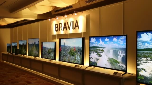 sony corp 4k bravia liquid crystal display televisions are displayed during an unveiling in tokyo, japan, on tuesday, april 15, 2014 - liquid crystal display stock videos & royalty-free footage