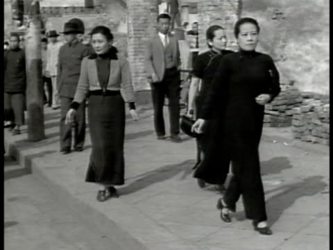 soong mayling soong chingling soong ailing walking on street vs soong sisters standing w/ paper talking - chiang kai shek stock videos and b-roll footage