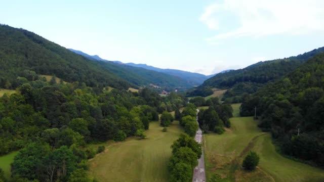 自然の落ち着いた緑の色 - 山の風景 - 国立公園緑の牧草地と森のトップビュー - 自然の落ち着いたシーン - 水の形態点の映像素材/bロール