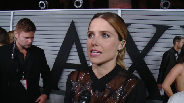 interview sophia bush on her outfit and on her personal hot 100 list at the maxim hot 100 and relaunch party at pacific design center on june 10 2014... - pacific design center stock videos and b-roll footage