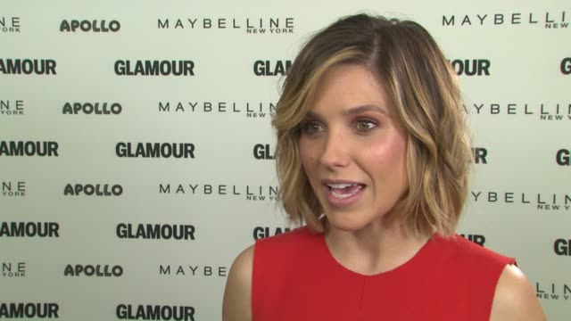vídeos de stock, filmes e b-roll de interview sophia bush on hosting the event and being excited at glamour's the power of an educated girl with special guest first lady michelle obama... - sophia bush