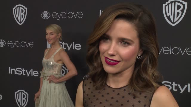 vídeos de stock, filmes e b-roll de interview sophia bush on the globes at 18th annual instyle and warner bros pictures golden globes afterparty at the beverly hilton hotel on january 8... - sophia bush