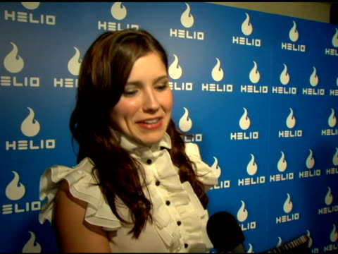 sophia bush on the phone what she will use the phone for technology and text messaging at the helio launch event at private residence in los angeles... - text messaging video stock e b–roll