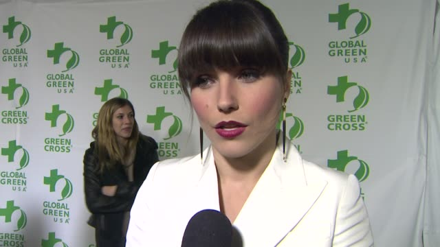 vídeos de stock e filmes b-roll de interview sophia bush on what she appreciates about the work global green usa is doing how she feels about their hurricane sandy relief efforts what... - festa do óscar