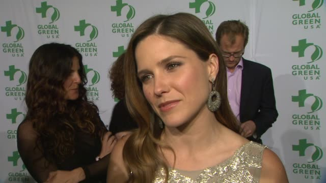 sophia bush on what she's wearing why she wanted to support global green what she does to live a greener life and who she's routing for on oscar... - amrapali stock videos & royalty-free footage