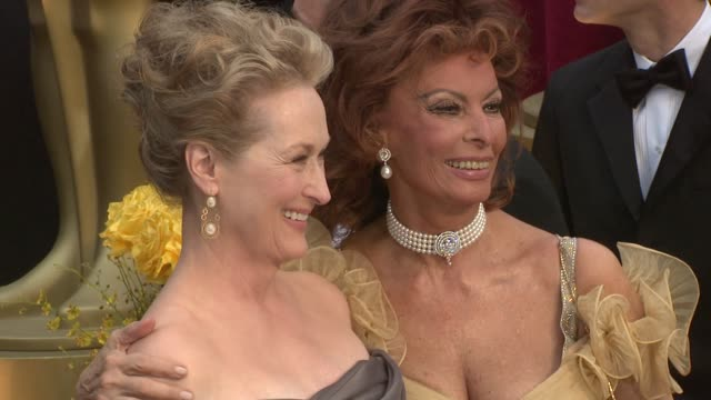 sophia loren and meryl streep at the 81st academy awards arrivals part 7 at los angeles ca. - 2009 stock videos & royalty-free footage