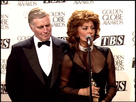 sophia loren at the 1995 golden globe awards at the beverly hilton in beverly hills, california on january 21, 1995. - sophia loren stock videos & royalty-free footage