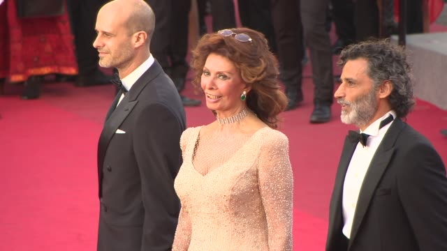 sophia loren at 'two days, one night ' red carpet at palais des festivals on may 20, 2014 in cannes, france. - sophia loren stock videos & royalty-free footage