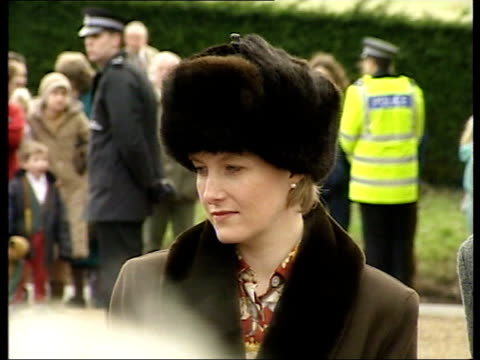 sophie countess of wessex controversy; lib sandringham: ext sophie, countess of wessex standing next to prince philip, the duke of edinburgh as... - sophie rhys jones, countess of wessex stock videos & royalty-free footage