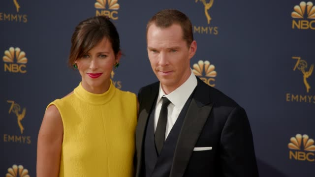 sophie hunter and benedict cumberbatch at the 70th emmy awards - arrivals at microsoft theater on september 17, 2018 in los angeles, california. - benedict cumberbatch stock videos & royalty-free footage