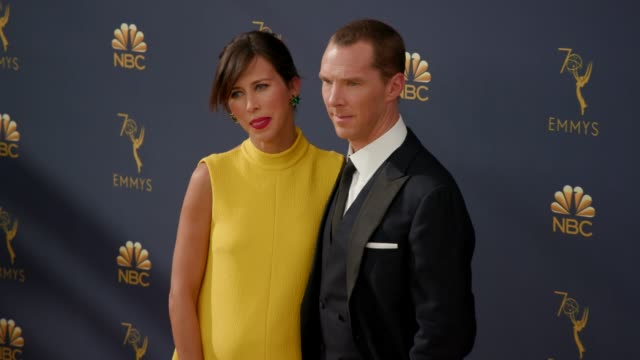 sophie hunter and benedict cumberbatch at the 70th emmy awards arrivals at microsoft theater on september 17 2018 in los angeles california - emmy awards stock videos & royalty-free footage