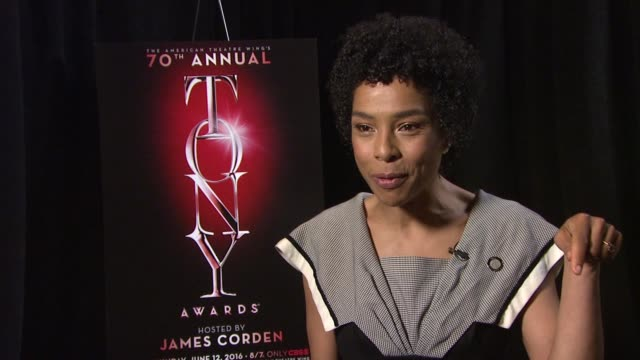 sophie okonedo discusses what sets the tony awards apart from other awards shows. talks about what she is looking forward to this year at tony awards... - sophie okonedo stock videos & royalty-free footage