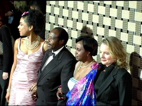 sophie okonedo, paul rusesabagina and wife and cara seymour at the 'hotel rwanda' los angeles premiere at the academy theatre in los angeles,... - sophie okonedo stock videos & royalty-free footage