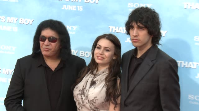 """sophie simmons, gene simmons and nick simmons at """"that's my boy"""" los angeles premiere sophie simmons, gene simmons and nick simmons at regency... - regency village theater stock videos & royalty-free footage"""
