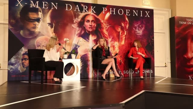 Sophie Turner and Jessica Chastain attend a press conference to promote their new film XMen Dark Phoenix at Four Seasons Hotel on May 15 2019 in...