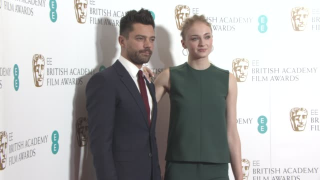 sophie turner dominic cooper at bafta film nominations 2017 on january 10 2017 in london england - nomination stock videos & royalty-free footage