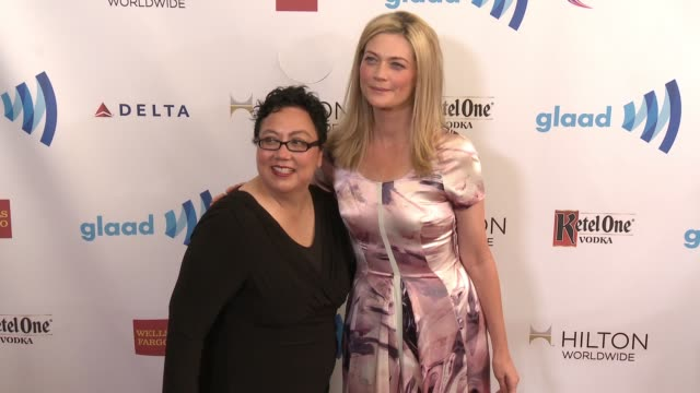 stockvideo's en b-roll-footage met sophie ward and rena brannan at the 25th annual glaad media awards at the beverly hilton hotel on april 12 2014 in beverly hills california - beverly hilton hotel