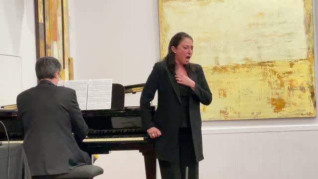 soprano montserrat marti performs during the 'la isla del cristianismo: armenia y artsaj' new album presentation at espacio ronda on march 23, 2021... - ソプラノ点の映像素材/bロール