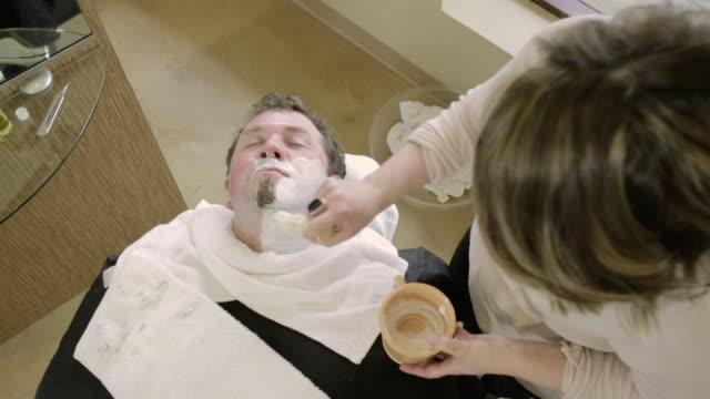 sorenza salon - shaving brush stock videos & royalty-free footage