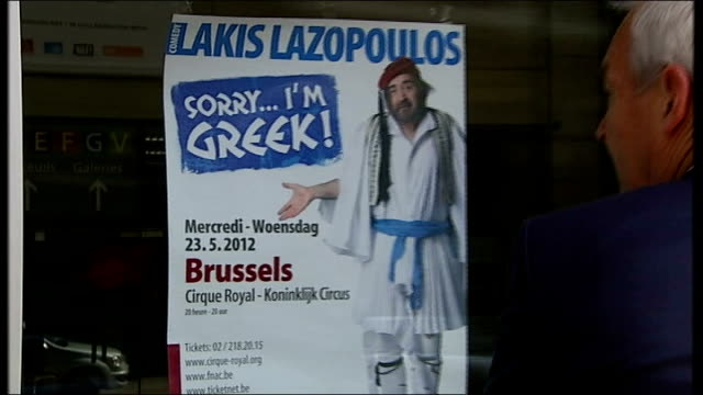 vidéos et rushes de 'sorry i'm greek' satirical play about the greek economic situation; belgium: brussels: ext 'sorry i'm greek!' poster on door advertising satirical... - satire