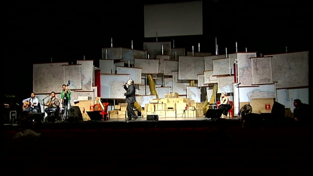 vidéos et rushes de 'sorry i'm greek' satirical play about the greek economic situation; **music heard sot** int lakis lazopoulos and others performing on stage with... - satire