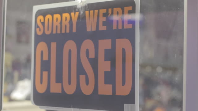 sorry we're closed sign - closed sign stock videos and b-roll footage
