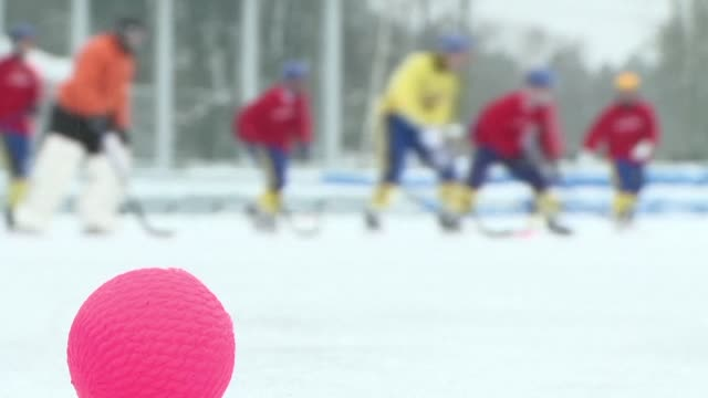 a sort of field hockey on ice that is played mainly on the freezing steppes of siberia the game of bandy is pressing to win a broader fan base and... - field hockey stock videos and b-roll footage