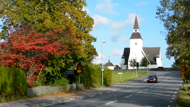 sorunda sweden beautiful white church and cemetery in small picturesque town south of stockholm - cemetery stock videos & royalty-free footage