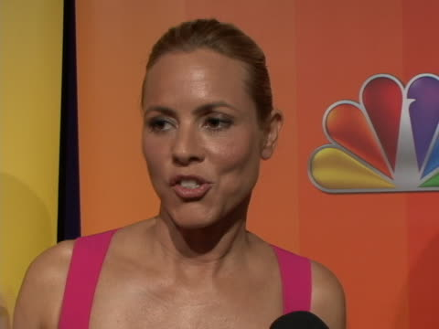 sot on red carpet for the nbc upfront primetime preview on her new show prime suspect sot really good at what she does and really self contained and... - maria bello stock videos & royalty-free footage