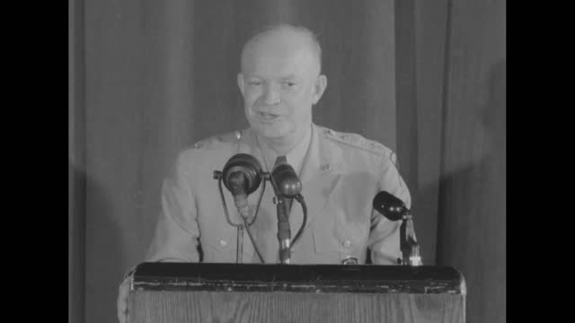 sots general dwight d eisenhower speaking from podium at pentagon press conference; he discusses his decision to come home from the us, to retire... - virginia us state stock videos & royalty-free footage