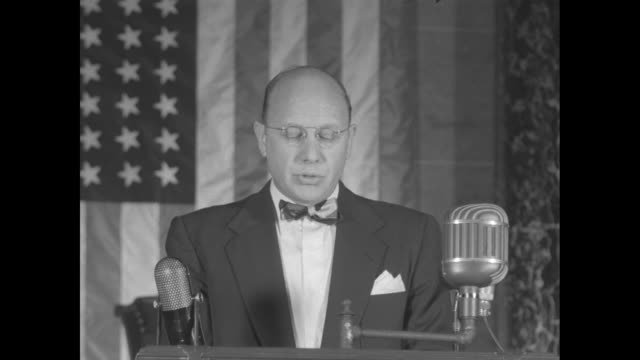 sots george maurer, reading clerk of the us house of representatives, as he reads part of pres. harry truman's state of the union speech regarding... - harry truman stock videos & royalty-free footage