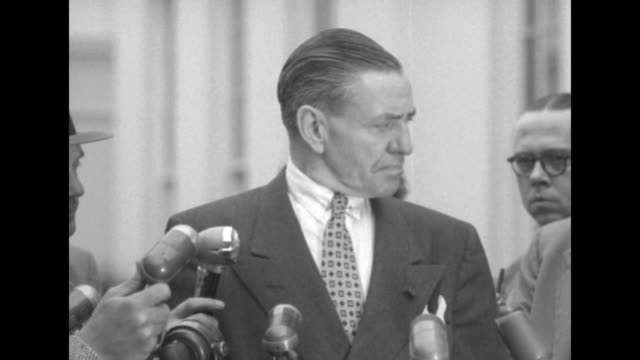 SOTs Judge James McGranery speaks to reporters at press conference outside White House commenting on Newbold Morris's questionnaire the FBI J Edgar...
