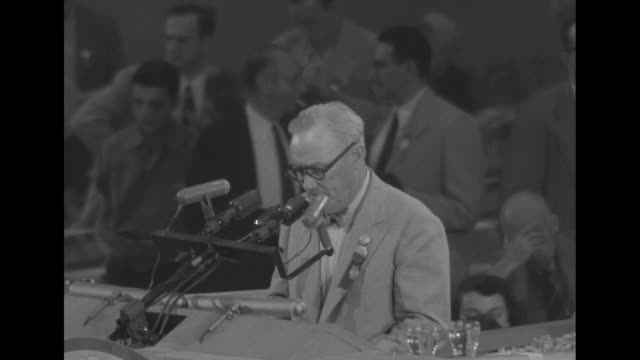 SOTs Oklahoma politician speaking at podium behind microphones speech leading up to nomination of General Douglas MacArthur as Republican candidate...