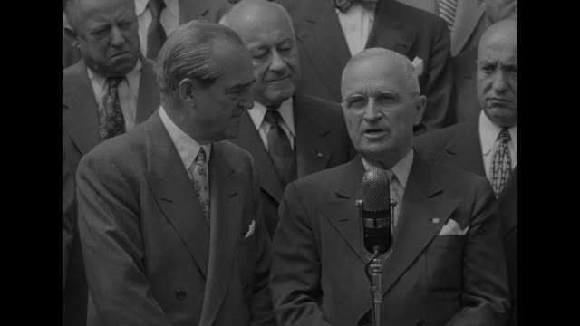 "sots us president harry s. truman calls for a motion picture campaign of ""truth and fact"" with respect to the korean war, with members of the... - harry truman stock videos & royalty-free footage"