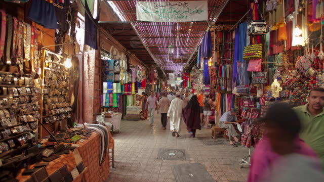 hyperlapse souks rue semarine - market stock videos and b-roll footage